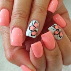 Nail art is one of many ways to boost your style. Try something different for each of your nails will surprise you. You do not have to use acrylic nail designs to have nail art on them. Here are several nail art ideas you need in spring! Spring Nail Art, Nail Designs Spring, Flower Designs For Nails, Nail Colors For Spring, Flower Nail Art, Acrylic Spring Nails, Acrylic Nail Designs For Summer, Tropical Nail Designs, Funky Nail Designs
