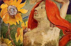 Donna dai capelli rossi e girasoli - Paul  Gauguin - 1890