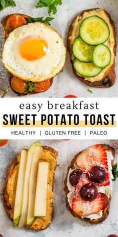 This sweet potato toast recipe makes for a quick and easy breakfast or snack idea for the family. They are completely customizable and can be made sweet or savory with many different fruits or vegetables as toppings. Learning how to make sweet potato toast is simple and a fun activity for the kids to take part in. Let them make their own edible masterpiece. This grain free option is a delicious and healthy meal alternative that is both gluten free and paleo. Enjoy! Delicious Breakfast Recipes, Best Breakfast, Healthy Breakfast Recipes, Brunch Recipes, Paleo Recipes, Healthy Snacks, Fun Recipes, Breakfast Club, Healthy Breakfasts