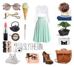 Slytherin - Cutesy Style by realslytherinpride on Polyvore featuring Stone_Cold_Fox, Chicwish, Ralph Lauren, Linda Farrow, Tweezerman, MAC Cosmetics, Fujifilm, harrypotter and slytherin