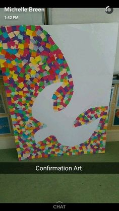 I'd draw out the dove in pencil then people could add the squares. It could make a good prayer activity for pentecost (paper crafts for kids to make) Catholic Crafts, Church Crafts, Christian Crafts, Christian Art, Auction Projects, Art Projects, Prayer Stations, Spirited Art, Centerpieces