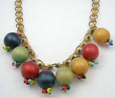 Miriam Haskell Wood Bead Necklace - Garden Party Collection Vintage Jewelry