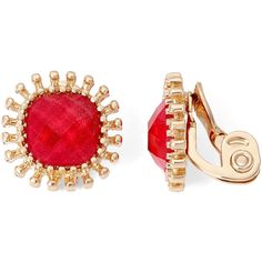 Monet Gold-Tone Red Cushion Clip-On Earrings ($22) ❤ liked on Polyvore featuring jewelry, earrings, clip earrings, goldtone jewelry, clip back earrings, monet jewelry and gold tone jewelry