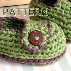 Instant Download Crochet Pattern Baby Button Loafers by Genevive