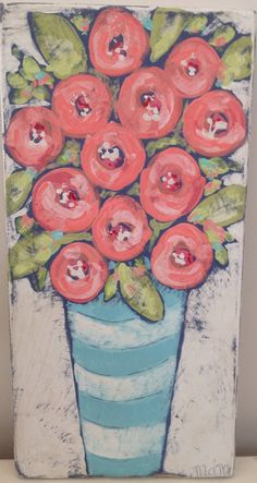 Original painting by Mary DeMaagd. Folk Art Flowers, Flower Art, Easy Flower Painting, Watercolor On Wood, Acrylic Flowers, Painting Inspiration, Art Projects, Canvas Art, Artwork