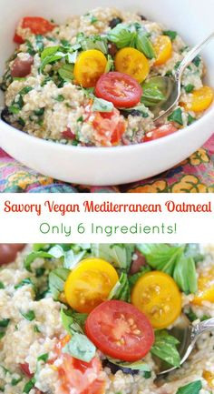 Savory vegan Mediterranean Oatmeal This savory breakfast recipe is filled with spinach tomatoes Kalamata olives basil and steel cut oats A delicious way to enjoy your oat. Savory Breakfast, Vegan Breakfast Recipes, Brunch Recipes, Vegetarian Recipes, Healthy Recipes, Savory Oatmeal Recipes, Oats Recipes, Whole Food Recipes, Cooking Recipes