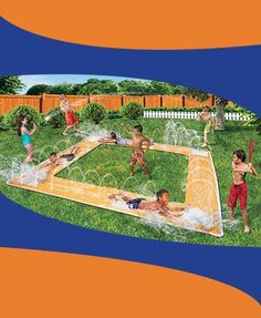 One sure way to make this summer a grand slam is by playing backyard games on this fun baseball diamond water slide. Cool down by gliding from base to base on the square slide that has water-spray tunnels around the perimeter. Hit a home run and slide al
