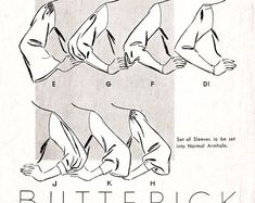 vintage sewing pattern Vintage Sewing Pattern sleeve set 8 styles bust 34 French and English reproduction - Vintage sewing pattern sleeves set 8 Drawing Techniques, Drawing Tips, Drawing Sketches, Art Drawings, Drawing Ideas, Art Reference Poses, Design Reference, Drawing Reference, Couture Vintage