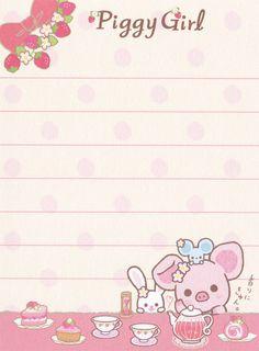 "San-X Piggy Girl ""Sweets"" Mini Memo"