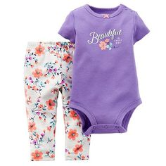 Carter's Graphic Bodysuit & Floral Pants Set - Baby Girl