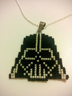 Delica Seed Beaded Darth Vader Star Wars Necklace by Alexiwing