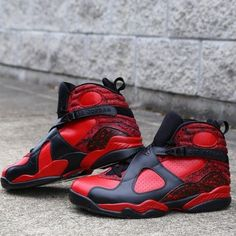 b71a7281bdffb6 Air Jordan Retro 8 Bulls On Fire Customs by Zadeh Kicks Air Jordan Retro 8