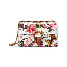 Gucci Garden Exclusive Dionysus Shoulder Bag (10.050 RON) ❤ liked on Polyvore featuring bags, handbags, shoulder bags, floral leather handbags, genuine leather handbags, floral print handbags, gucci shoulder bag and leather handbags