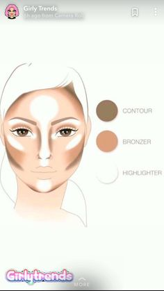 ▷ 1001 + tips and tricks to make a make-up con ▷ 1001 + conseils et astuces pour réaliser un maquillage contouring facile make a quick contouring with three products, use a basic foundation bronzer and highlighter for face makeup - Skin Makeup, Eyeshadow Makeup, Beauty Makeup, Highlighter Makeup, Illuminator Makeup, Corrector Makeup, Eyebrow Makeup, Beauty Box, Simple Makeup