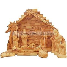 13 Piece large Nativity Set - Made from Olive wood in Bethlehem
