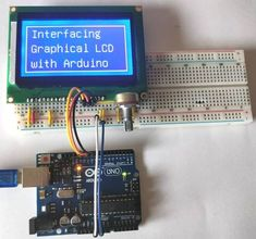 Interfacing Graphical LCD with Arduino circuit hardware Electronics Components, Diy Electronics, Electronics Projects, Arduino Circuit, Arduino Lcd, Electronic Circuit Projects, Arduino Projects, Lcd Keypad Shield, Arduino Display