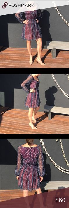 Vintage polka dot dress ❤Love this vintage number I found in San Fran.  The underslip is a dark burgundy color.  The sun was so bright it intensified it a bit in the photos.  Not quite as stark a contrast in normal light. Dresses Mini