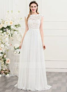 [US$ 157.49] A-Line/Princess Scoop Neck Sweep Train Chiffon Wedding Dress With Bow(s) (002107557)
