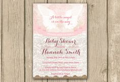 angel invite angel invitation baby shower by DulceGracePrintables