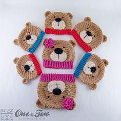 Teddy Bear Hat pattern by Carolina Guzman-perfect for my little man (Theodore aka teddy)Teddy Bear Hat - PDF Crochet Pattern - 7 sizes ( Newborn to Adult ) - Beanie Hat…This funny Teddy Bear Hat is perfect from newborns to adults. Crochet Kids Hats, Crochet Cap, Crochet Beanie Hat, Cute Crochet, Crochet Dolls, Crochet Teddy, Crochet Animal Hats, Knit Hats, Crochet Character Hats