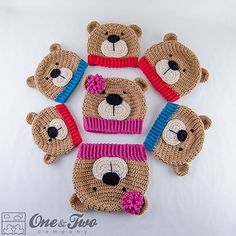 Teddy Bear Hat pattern by Carolina Guzman $4´99 ✿⊱╮Teresa Restegui http://www.pinterest.com/teretegui/✿⊱╮