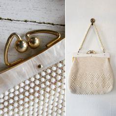1950s handbag   vintage 50s handbag   vintage handbag   vintage white handbag   vintage white beaded handbag   50s purse   The Mindy Handbag by VivianVintage8 on Etsy
