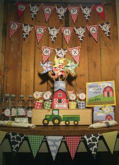 Image of Barnyard farm animals birthday party - printable diy barnyard farm birthday party decorations