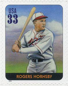 Roger Hornsby, uno de los mejores bateadores diestros en la historia del juego. Ganó 7 campeonatos de bateo (6 consecutivos) y llevó a los Cardenales de St. Louis a su primer campeonato mundial. Estados Unidos, 2000 Roger Hornsby Leyendas del Beisbol