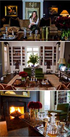 An Aerin Lauder living room, complete with a sunken bar table and leopard sofa. When can I move in?