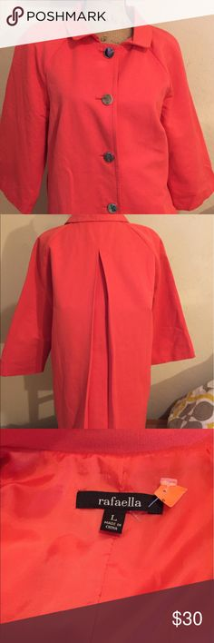 Cute orange red jacket- perfect for cool night Great Rafaela coat- classic and gorgeous color Rafaella Jackets & Coats Trench Coats