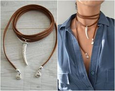 Item details: It's an one of a kind wrap choker made with genuine dark brown flat leather cord and either a shark or wolf tooth pendant is placed at the centre and it's finished with silver end caps and small drop shaped charms. This leather choker is Leather Choker Necklace, Leather Jewelry, Leather Cord, Brown Leather, Choker Jewelry, Collar Hippie, Jewelry Crafts, Handmade Jewelry, Diamond Solitaire Necklace
