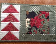 SAWTOOTH STAR, mug rug, candle mat, placemat, mini quilt, snack mat pattern.A little quilt with many uses. Good project for the beginner quilter to learn template-free patchwork methods for constructing basic blocks. size: 12 1/2 x 8 1/2  The instructions are given for the pink mat with tiny flowers. You can use this as a guide and use your own choice of fabrics. Clear instructions with diagrams are included in this mug rug pattern.  This is one in a series of mug rug patterns that ...