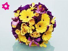 Bouquet de noiva lilás redondo