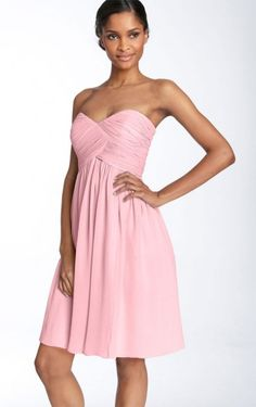 Trendy Sheath Short Strapless Pink Satin Dress