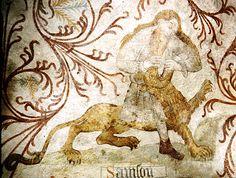 Samson and the Lion Danish, Lion, Moose Art, Jacket, Animals, Painting, Leo, Animales, Animaux
