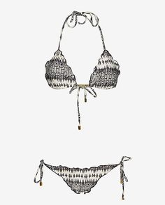 Vix inx Print Ripple Bikini: Laser engraved gold tone metal bars gather the self tie padded triangle top and sit at the string ends of the European cut bottoms. Ripple trim. Lined. In black/white ikat. Fabric: 85% polyamide/15% elastane Model Measurements: Height 5'10; Waist 25 ; ...