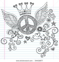 flying peace sign doodle