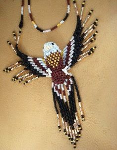 Native American Seed Bead Patterns | 3D Eagle Necklace made with Czech Seed Beads and Bugle Beads.