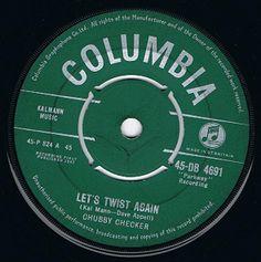 "... CHECKER Let's Twist Again 7"" Single Vinyl Record 45rpm Columbia 1961"
