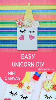 Make this unicorn craft; crafts for kids, kids party activity or make them for gifts. Make a mini unicorn canvas and use it for room decor or party favors. Unicorn Diys, Unicorn Crafts, Adult Crafts, Easy Crafts, Crafts For Kids, Party Activities, Activities For Kids, Kids Stickers, Woodland Party