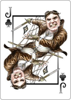 The Jack of Clubs of our #steampunk  #goggledeck  The Air Pirate Captain - Bold, Ferocious, Fearless