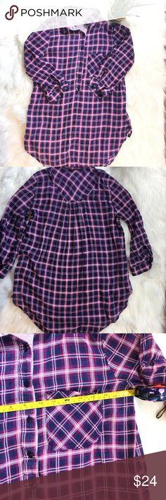 "ZARA Trf plaid lightweight half button down shirt Pink and Navy plaid ZARA shirt with pocket! Lightweight and comfortable half button down pullover shirt. Very lightweight/ semi sheer material. 100% Cotton. 36"" Bust, 27"" Long and 13"" Shoulder to shoulder. Zara Tops Button Down Shirts"