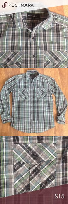 Men's Button-down Plaid Dress Shirt Men's button-down green/black/gray dress shirt. Young men's fitted style w/ fancy pockets and button fastener for sleeve roll-up. Size M. Beverly Hills Polo Club. Hardly worn/Mint condition! All of my items come from a smoke-free home. Shirts