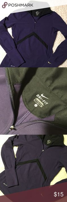 Nike Pullover Purple Nike workout pullover with thumb holes. In good condition. Light-weight. Nike Tops Sweatshirts & Hoodies