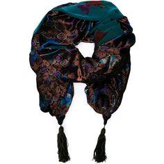 Pre-owned Emanuel Ungaro Vintage jacquard shawl-cape ($765) via Polyvore featuring accessories, scarves, blue, multi colored scarves, blue shawl, blue scarves, shawl scarves and colorful shawl