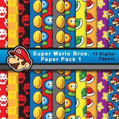 Papel de Super Mario Bros (pack 1) de ElbauldeSherezade en Etsy