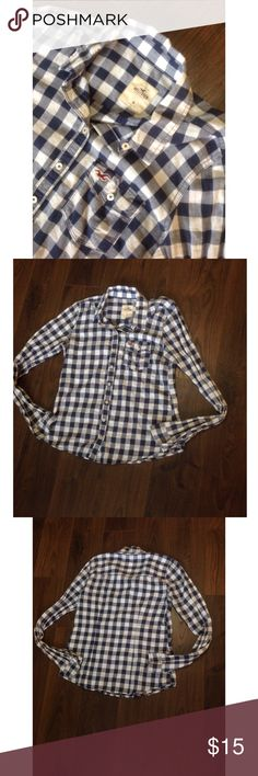 Hollister flannel 🖊D e s c r i p t i o n 🖊 This flannel is perfect for year round wear and a super cute color as well.   ⚫️C o n t e n t⚫️ 100% cotton  ✂️M e a s u r e m e n t s ✂️ Medium  🔘C o n d i t i o n 🔘 New without tags   👖👚P a i r W i t h 👚👖 Jeans or shorts   🚫 No trades 💕 Reasonable offers welcome  💰 Bundle discount offered  📬 Ships in 1-2 Hollister Tops Button Down Shirts