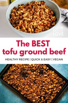 Looking for how to make tofu taste like ground beef? Discover how easy it is to make a vegetarian and vegan substitute for ground beef using tofu. This tofu ground beef recipe Includes step by step instructions for making the recipe. A great beginner tofu recipe for anyone looking to include more plant-based meals in their meal plan. The ground tofu meal is perfect for pasta sauce, tacos and much more. Get the recipe and signup for more great recipes and meal prep tips straight to your inbox. Vegan Ground Beef, Ground Beef Recipes, Tofu Recipes, Vegan Recipes Easy, Whole Food Recipes, Vegan Recipes For Beginners, Mexican Recipes, Recipes Dinner, Vegetarian