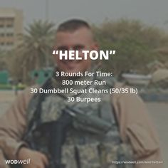 3 Rounds For Time: 800 meter Run; 30 Dumbbell Squat Cleans (50/35 lb); 30 Burpees