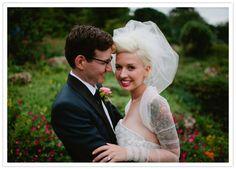 Minneapolis Wedding: Courtney + Brian  sheer bolero and gathered veil